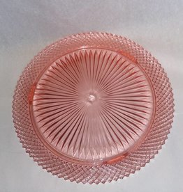 "Pink Anchor Hocking Cake Plate, Miss America Pattern, 12"", c.1920"