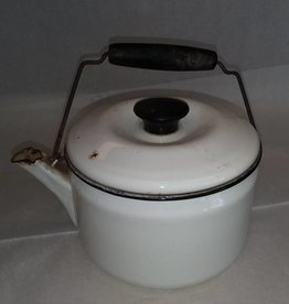 White Enamelware Tea Pot w/Lid & Bail Handle, E.1930's