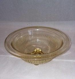 "Light Amber Ribbed Bowl, 7 1/8"", c.1940"
