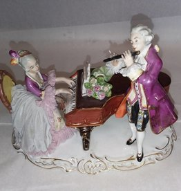 "Musical Victorian Couple, 7.75x4.75x5.75"", c.1940"