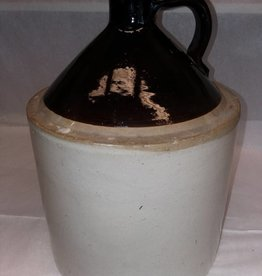 Brown & White Stoneware Jug, c.1900, 2 Gallon,