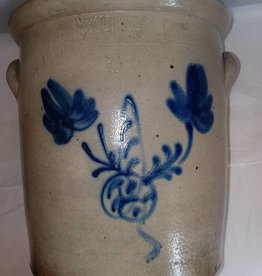 Cortland Woodruff Crock w/Butterfly Design, c.1860's, 3 Gallon
