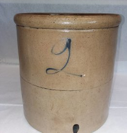 Cobalt 2 Gallon Crock, 2 in Script, L.1800's