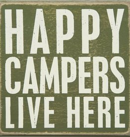 Happy Campers Live Here Box Sign, 5x5""