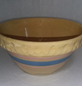 McCoy Yelloware Mixing Bowl, Blue & Pink Bands, 1930's, 8.5x5""