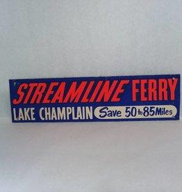 "16"" 40's/50's, L. Champlain Souvenir Bumper Tag Streamline Ferry, Cardboard"