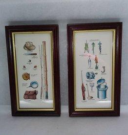 "2 Framed Fishing Gear & Tackle Prints, 5x9"", L.1900's"
