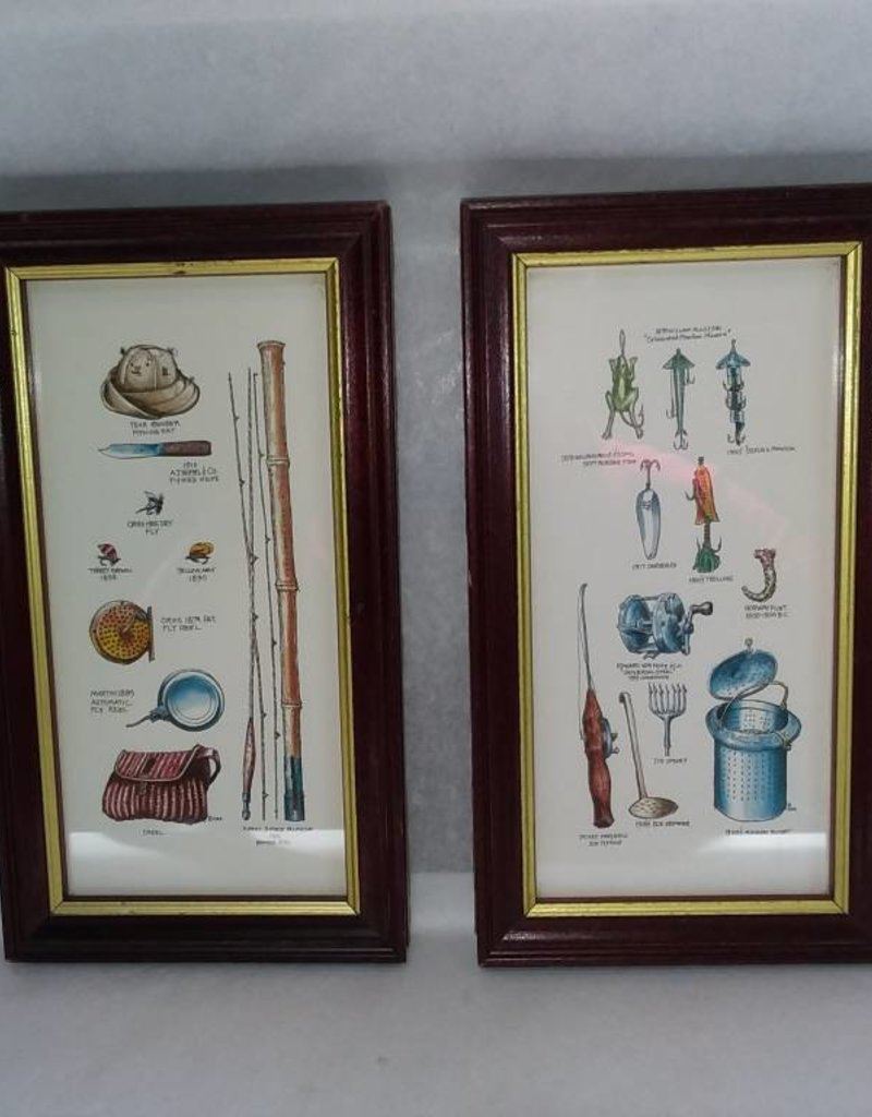 "2 Framed Fishing Gear & Tackle Prints, 5x9"", L.1900's"
