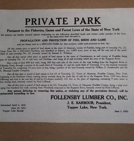 PRIVATE PARK Posted Sign, Unframed, Unused, 1933, 13x11""