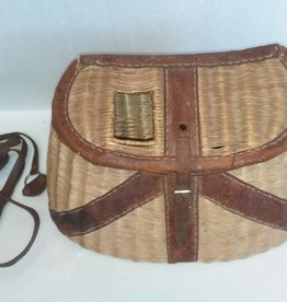 "Leather Bound Fishing Creel, 15"", E.1900's"