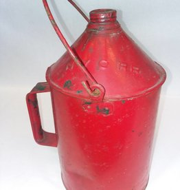 Tin Fuel Can w/Screw-on Lid, NYCRR, 1 Gal, Bail Handle, E.1900's