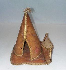 """Birch Bark Flin Flon Canada Teepee, 6"""", E.1940's"""