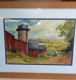 "Framed & Matted ""North Country"" Original Watercolor by Robert Baxter c.2000"