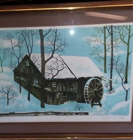 Old Water Mill Lithograph, 25x19.25""