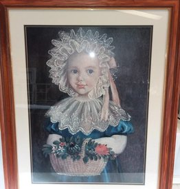 Framed & Matted Young Girl in Hat Print, Under Glass, 32x26""