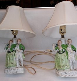 Matched Bedside Lamps, 2 Pieces, Colonial Couple, c.1950