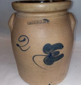 Geddes NY Stoneware Crock w/Flower, c.1975, 2 Gallon