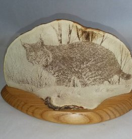"Bobcat Fungi Art, Signed & Dated, 9x5"", 2012"