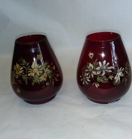"Pair Hand Painted Ruby Red Globes, 5.5"" Tall, m.1900's"