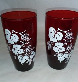 2 Ruby Red Glasses w/Grape Vines Painted in White, c.1950's