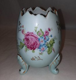 """Blue Napcoware Footed Egg Vase, Hand Painted, 6"""", c.1950"""