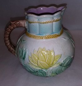 "Majolica Pitcher, Pond Lily Rope Pattern, 7"", c.1886"
