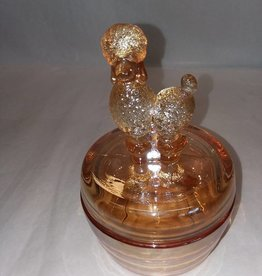 "Poodle Powder Jar, Marigold Carnival Glass, 6"", c.1950"