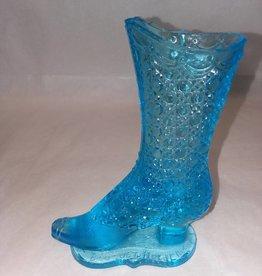 """Fenton Blue High Top Boot Bouquet Holder, 4x5.5"""""""