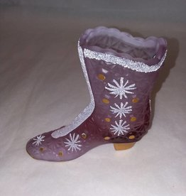 "Fenton Lite Purple Daisy Design Signed Boot, 4.5x4"", 2000"