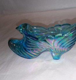 """Fenton Iridescent Blue Cat Head Design Slipper, 5.75x2.75"""""""
