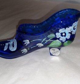 "Fenton Cobalt Blue Signed Shoe, 5x2.5"""