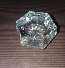 "Clear Cut Glass Open Salt, Starburst Bottom, E.1900's, 1.5"""