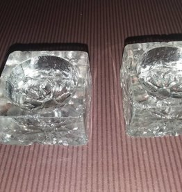 """Square Clear Glass Salts/Set of 2, Minor Chips (AS IS), 1 3/8"""", 1930's"""