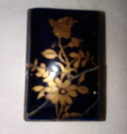 Mini Brass Matchbox w/Porcelain Top, Applied Gold, c.1950's