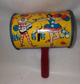 "Small Can Party Rattle, Made in USA, 3.25x2.25"", 1930's"