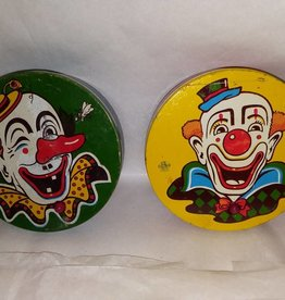 "Clown Noisemaker w/Wooden Handle, USA Metal Toy, 1940's, 4"" Round"