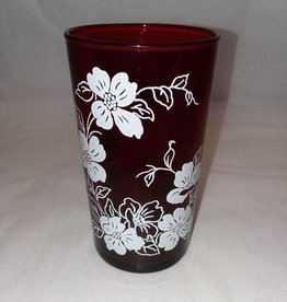 """Ruby Red Flower Glass, 4.75"""" Tall, c.1950"""