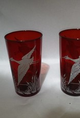 2 Ruby Red Glasses w/Marsh Bird Flying Above Reeds Painted In White, c.1950