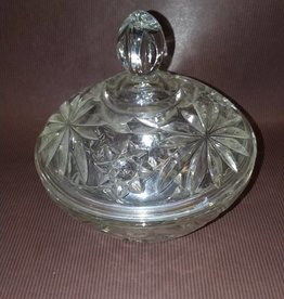 "Pressed Glass Covered Candy Dish, 5.25"", 1950's"