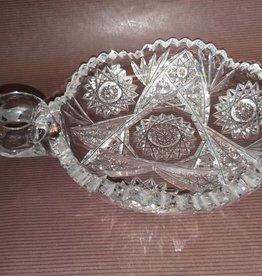 "Cut Glass Nut Dish w/Finger Hole Handle e.1900's 7"""