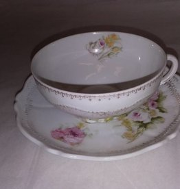 Pink & White Roses Cup & Saucer O&E Royal China, Austria