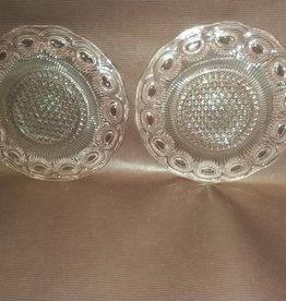 "2 Pressed Glass Dessert Plates, 6"", 1950's"
