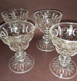 Stemware 4 Sherbet Glasses Thumbprint Pattern & Pinwheel On Base,  c.1950's