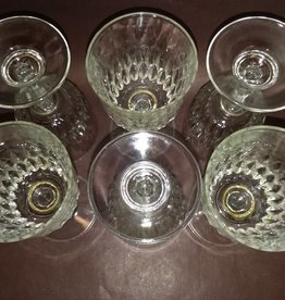 "6 Small Wine Glasses, 5"", 1950's"