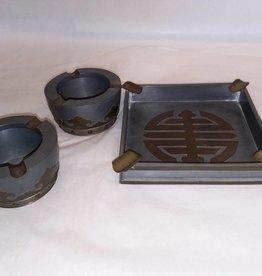 3 Piece Pewter Ashtray Set, 1800's