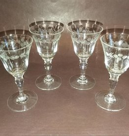 "4 Etched Cordial Glasses, 3.5"" tall, 1930's"