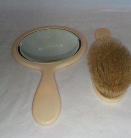 "Celluloid Brush & 6"" Mirror Set, 1940's-50's"