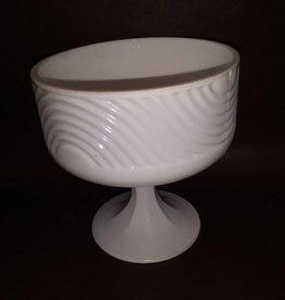 """Milk Glass Pedestal Dish, 5.75"""" Tall, 1950's."""