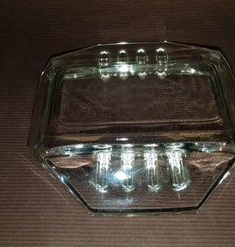 "6 Slot Glass Ashtray, 8 Sided, 5x5"", c.1950"