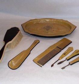 Celluloid Mixed Dresser/Vanity Set, E.1900's, 7 Pieces